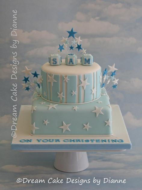 'SAM' ~ STAR BURST CHRISTENING CAKE