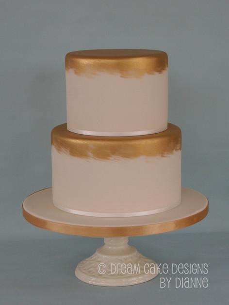 'AISLING' ~ contemporary 2 tier ivory & gold wedding cake