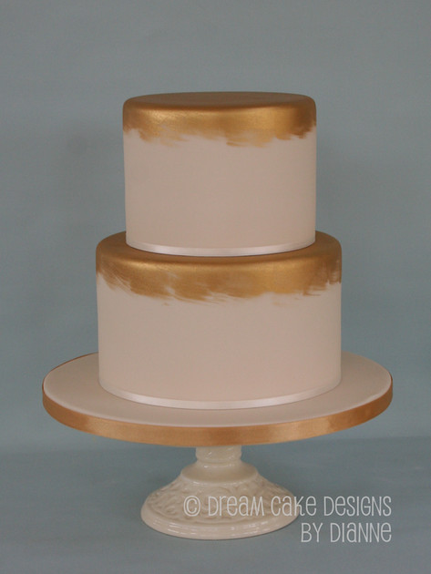 'AISLING' ~ contemporary 2 tier ivory & gold wedding cake