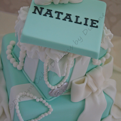 'NATALIE' ~ 2 tier Tiffany box cake with pearls