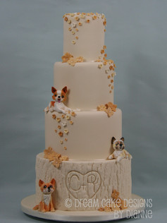 'Becca' ~ 4 tier bespoke wedding cake featuring the couples beloved dogs