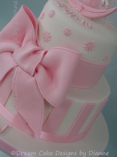 'LILY~J' ~ CHRISTENING CAKE with rocking horse and large bow