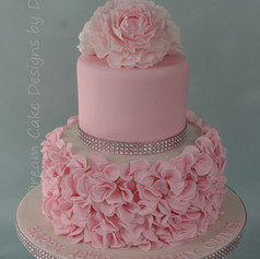 'OLIVIA' ~ 18th birthday cake with pretty petal ruffles and ruffled flower topper