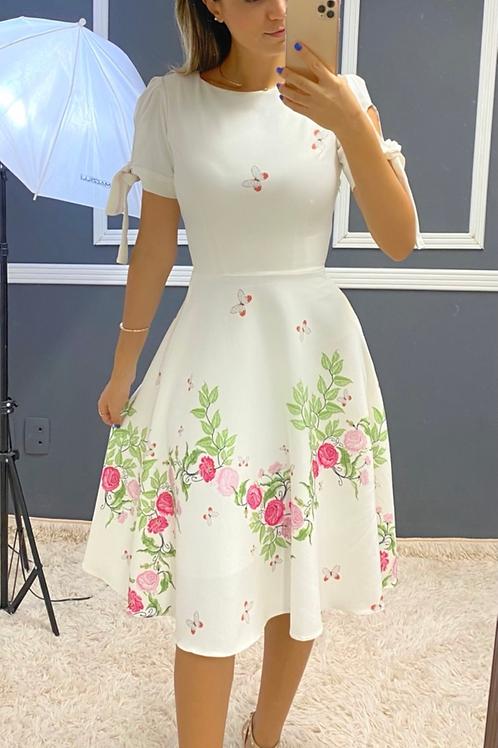Vestido Camila Flores Rosas e Borboletas