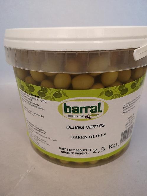 Oliven grøn. 2,5 kg. Barral