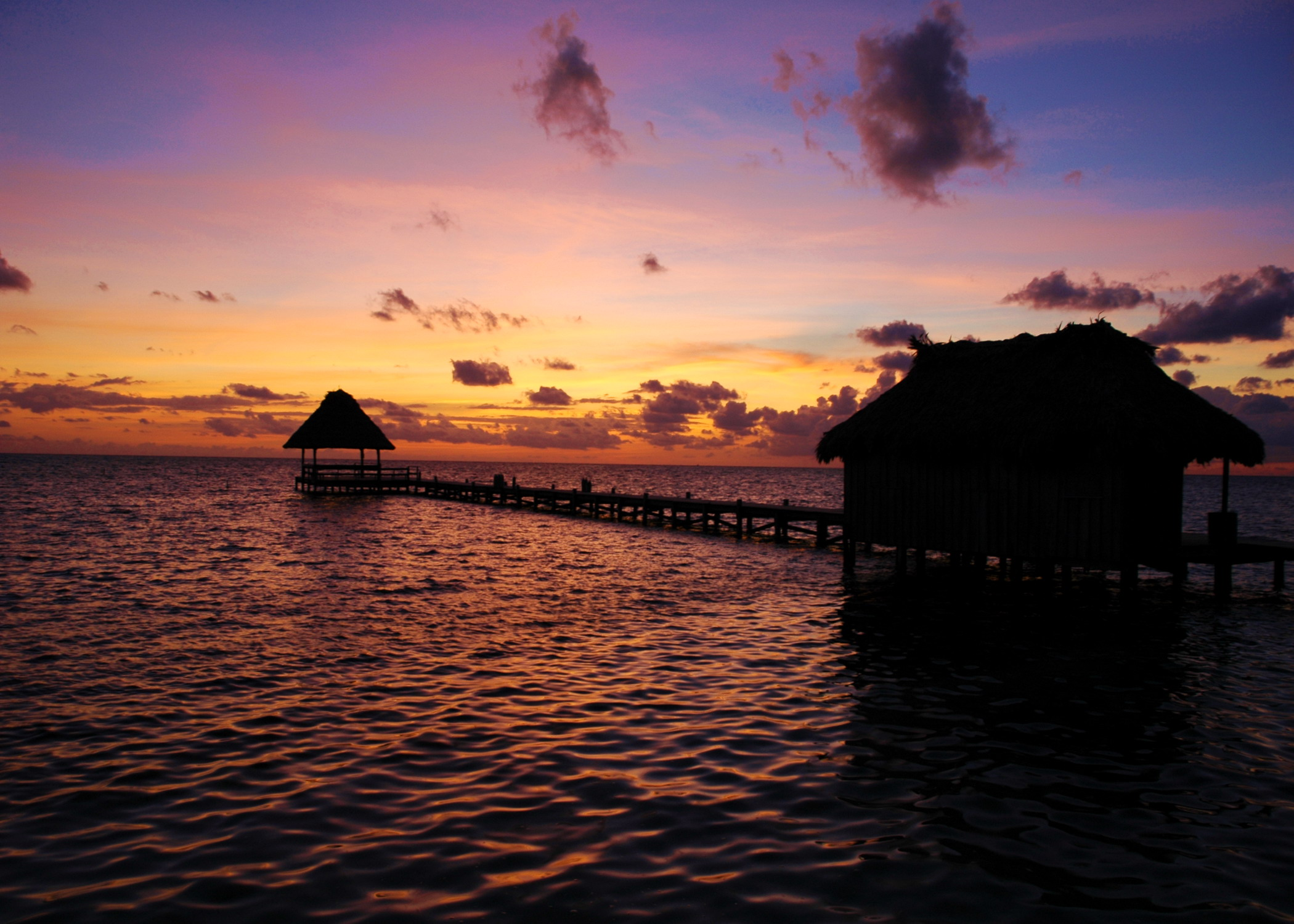 Sunrise over Dock (Ambergris Caye)