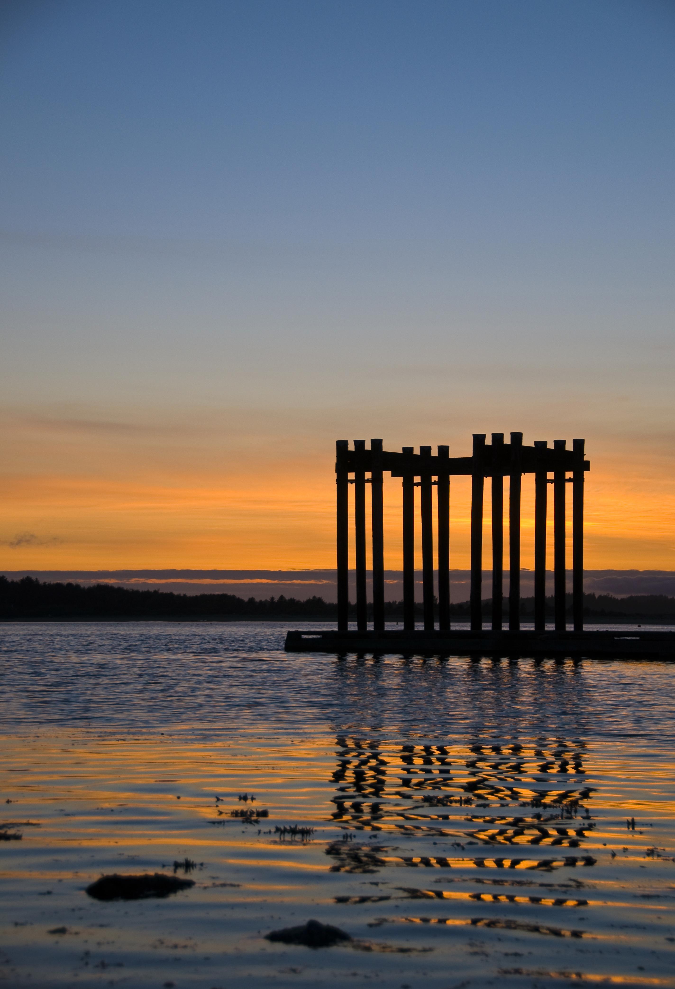 Sunset with Dock Pillars