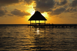 Sunrise Over Dock in Ambergris Caye