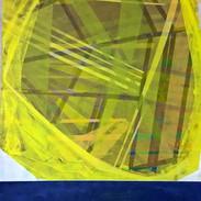 Lemon on a blue table , 80 cm x 120cm ,