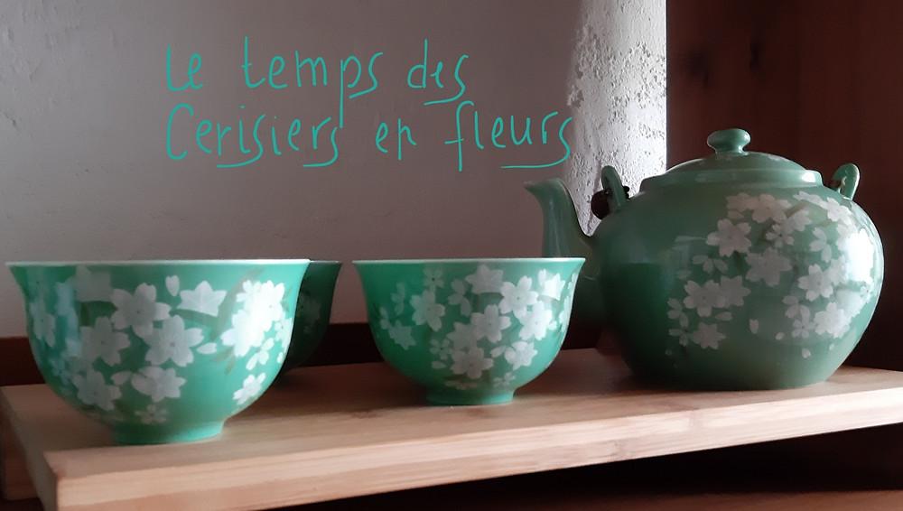 Service à thé, porcelaine fine, 4 personnes, Japon