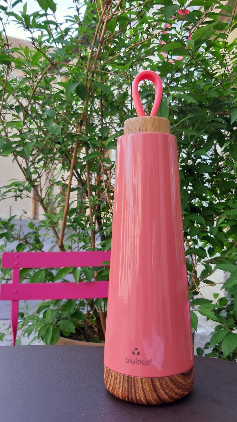 inox double paroi, bouchon bois, couleur corail