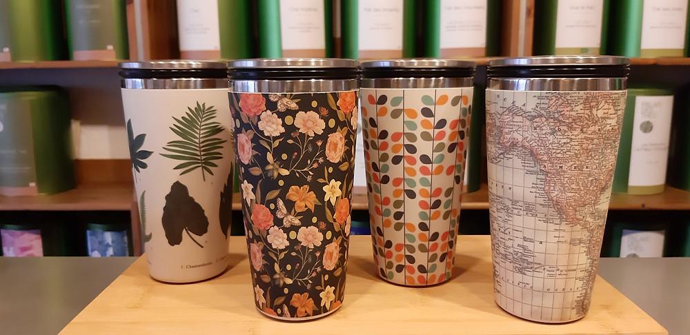 Mug-Thermos avec couvercle verseur intérieur inox extérieur bambou