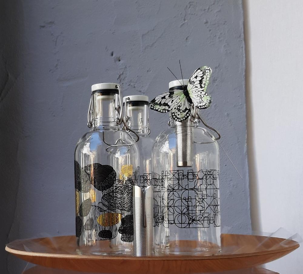 Bouteille verre 1l./filtre adapté/chaud/froid/eco-responsable