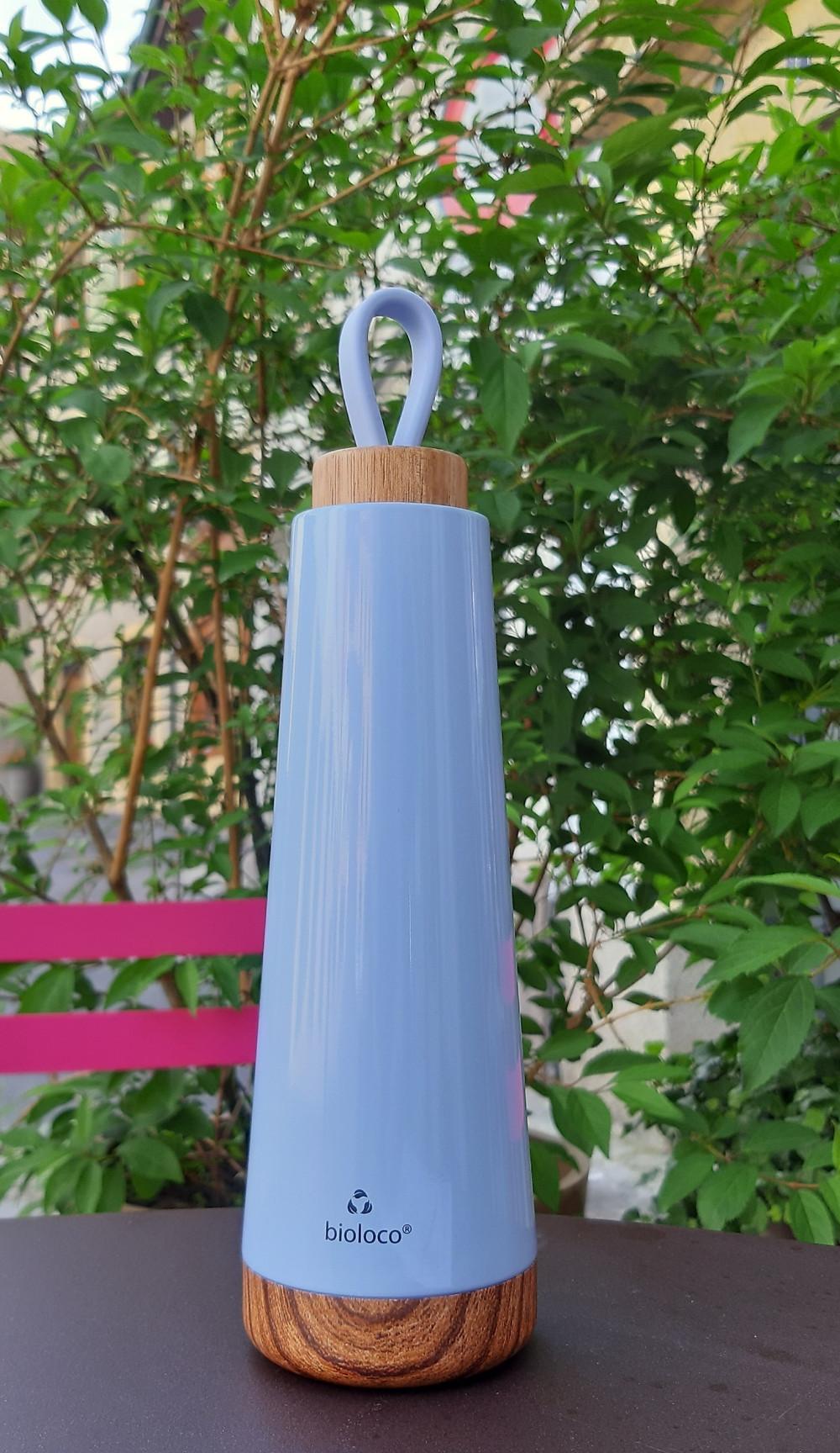 inox double paroi, bouchon bois, couleur ciel