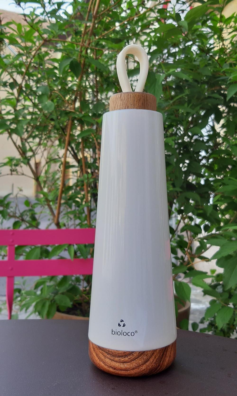 inox double paroi, bouchon bois, couleur blanc