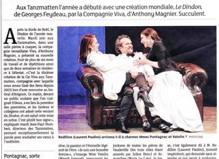 Premier article sur Le Dindon paru dans Les DNA, suite à la première du 8 janvier aux Tanzmatten (67