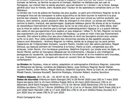 Superbe article de Gilles Costaz pour Le Dindon au Théâtre Déjazet !
