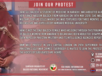 BNM protest in London against the enforced disappearances of Baloch women