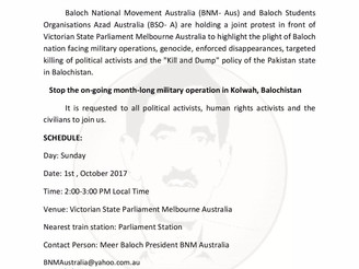 Australia: Protest against Pakistan Army Atrocities in Balochistan