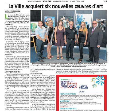 Newspaper article in ''Le Canada Français''