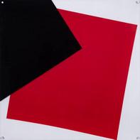 """""""EINEINHALB QUADRATE""""   WV 344   100 x 100 cm   Acryllack auf Leinwand und hintergrundbemalter Plexiglasplatte (PRIVATE SAMMLUNG)"""