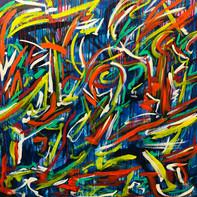 """""""DANCING LINES""""   WV Nr. 287   Acryl auf Leinwand   100 x 100 cm    2019   SOLD"""