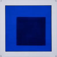 """""""INSERTION""""   WV 345   100 x 100 cm   Acryllack auf Leinwand und hintergrundbemalter Plexiglasplatte (SOLD)"""