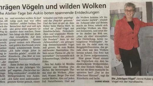 Weilheimer Tagblatt porträtiert 3 Künstler der Aukio-Ateliergemeinschaft.