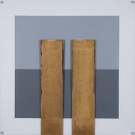 """""""GOLDEN TWINS""""   WV 346   100 x 100 cm   Acryllack auf Leinwand und hintergrundbemalter Plexiglasplatte (SOLD)"""