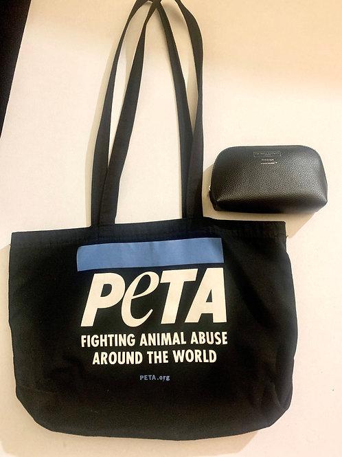 Juego Bolsa Tote PETA y Clutch Primera Clase White Co