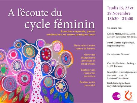 """Reprise des ateliers """"A l'écoute du cycle féminin"""""""