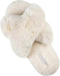 cross band fuzzy slippers