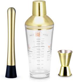 gold & glass shaker set