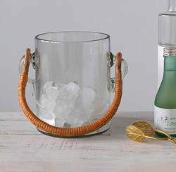 glass bamboo handle ice bucket