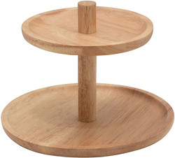 wood 2 tier tray