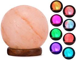 round himalayan salt rock lamp