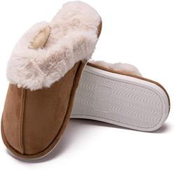 slip-on furry slippers