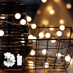 white globe string lights