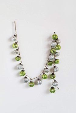 silver & green ornament garland