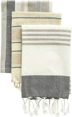 grey and tan striped towels