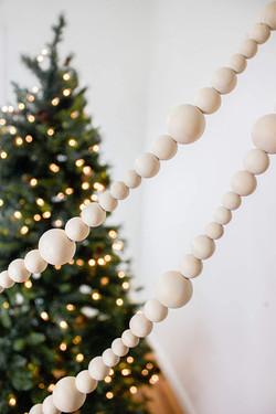 white bead garland