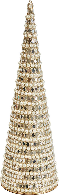 pearl and glass bead cone tree