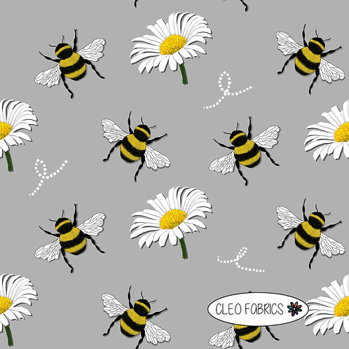PRE ORDER 5m Grey Bees and Daisy organic cotton jersey fabric