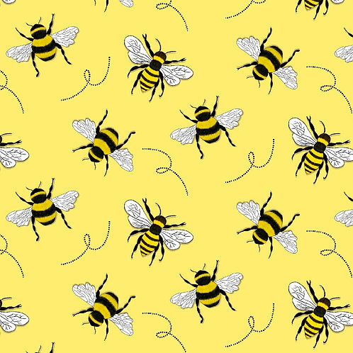 PRE ORDER 10m Yellow Bees organic cotton jersey fabric