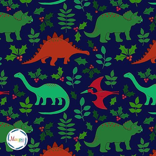 Christmas Dinos Organic cotton jersey fabric