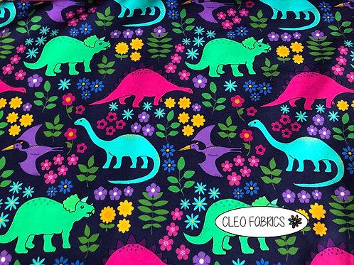 PRE ORDER 10m Flower Dinos organic cotton jersey fabric