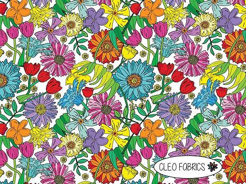 PRE ORDER 10m Spring Flowers organic cotton jersey fabric