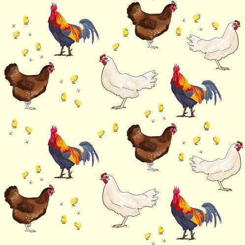PRE ORDER 5m Chickens organic cotton jersey fabric