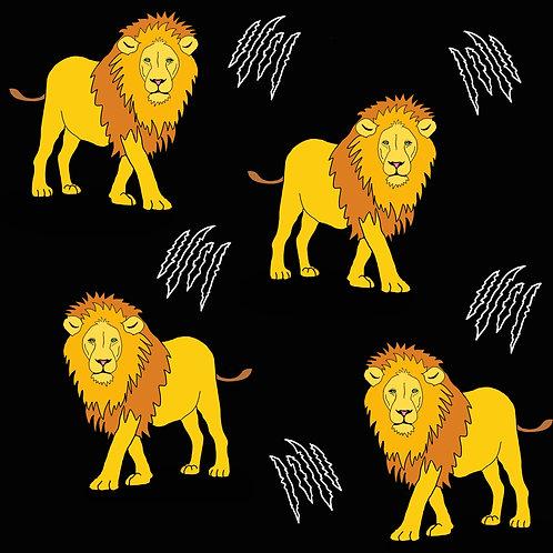 PRE ORDER 5m Lions organic cotton jersey fabric