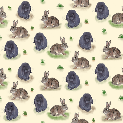 PRE ORDER 10m Rabbits and Hares organic cotton jersey fabric